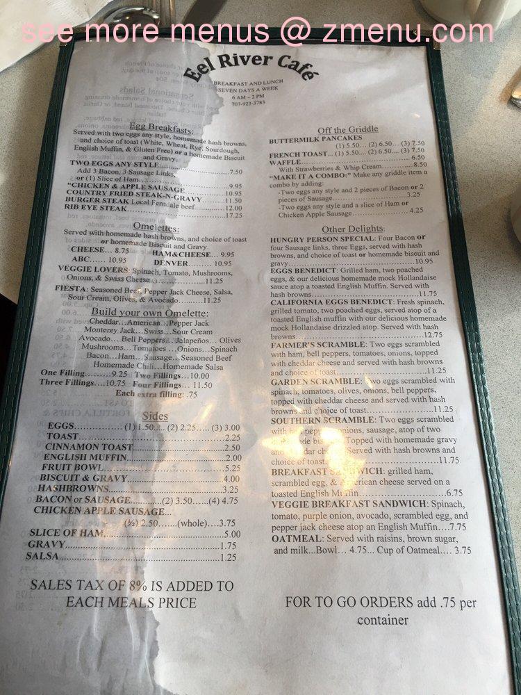 Eel River Cafe Garberville Ca Menu