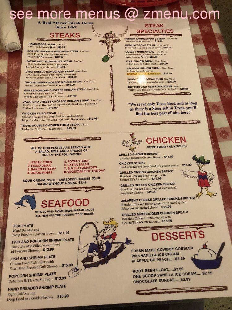 Online Menu Of Hungry Farmer Steak House Restaurant San Antonio Texas 78224 Zmenu