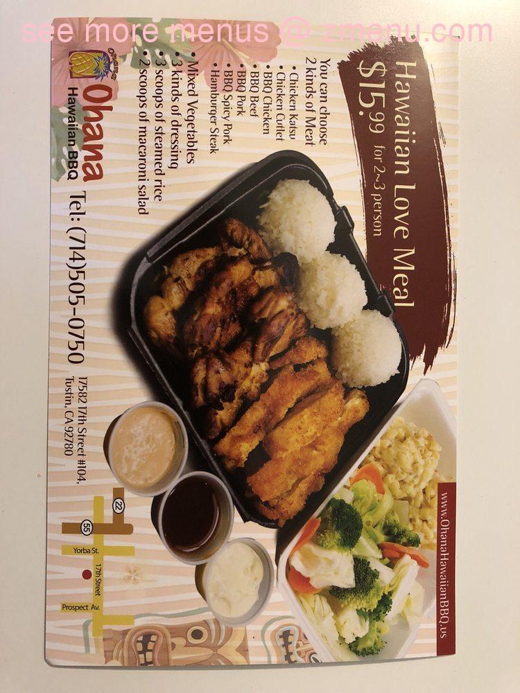 online menu of ohana hawaiian bbq restaurant tustin california rh zmenu com