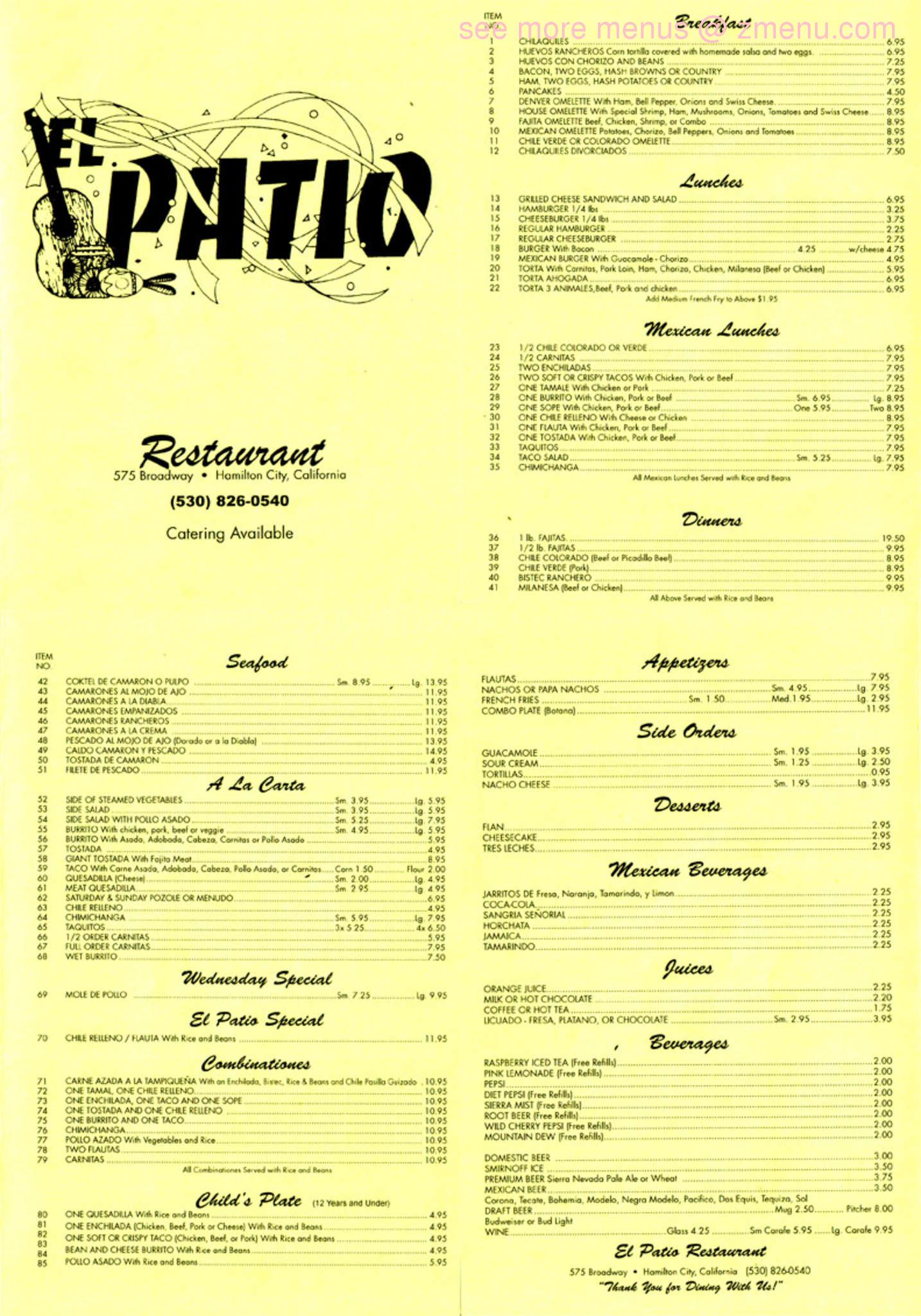 line Menu of El Patio Restaurant Restaurant Hamilton City