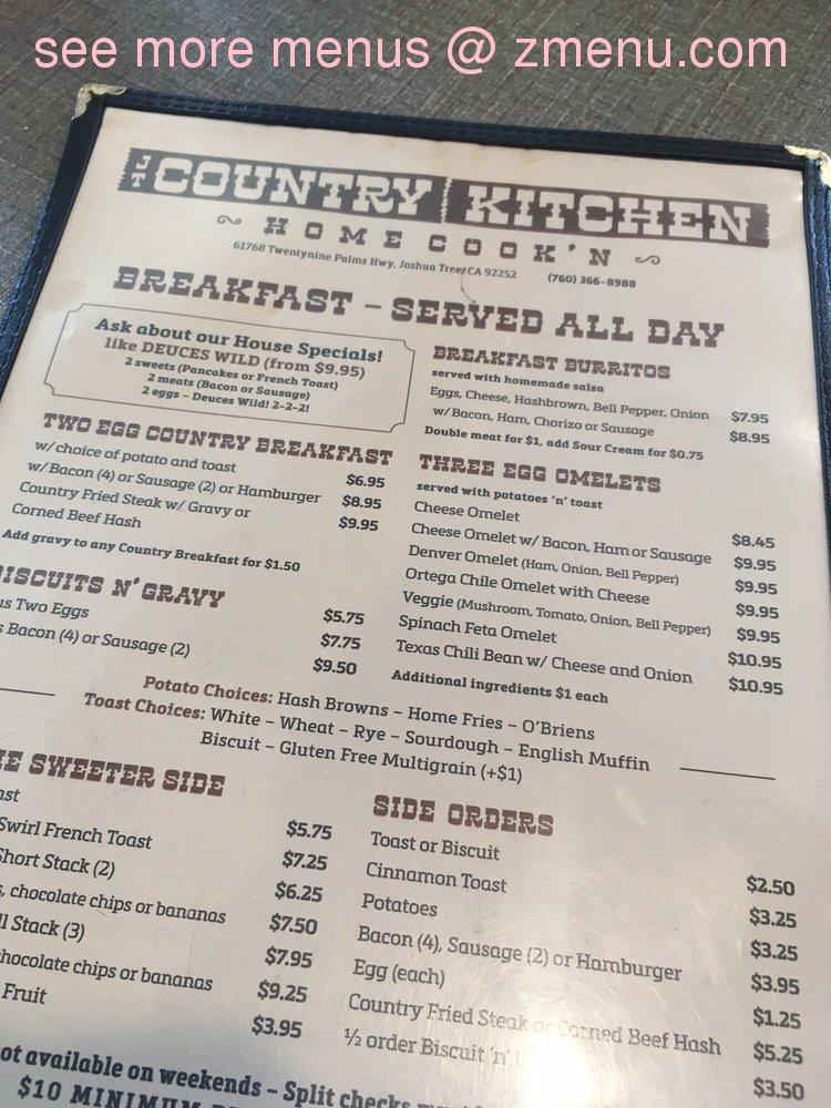Online Menu Of Jt Country Kitchen Restaurant Joshua Tree