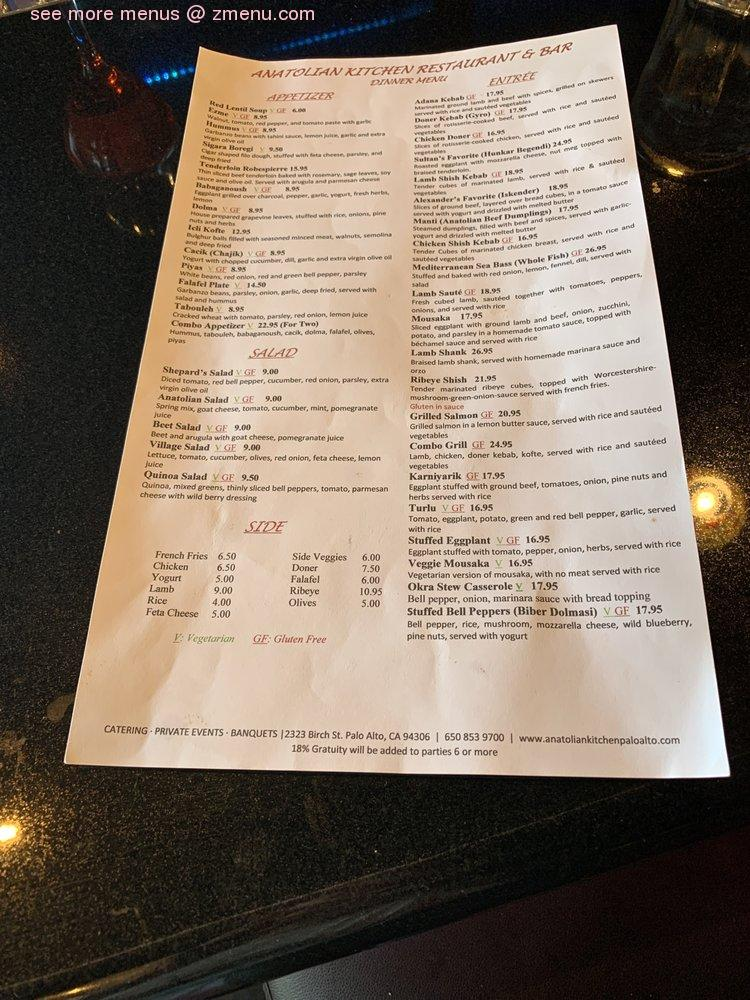 Online Menu Of Anatolian Kitchen Restaurant Palo Alto California 94306 Zmenu