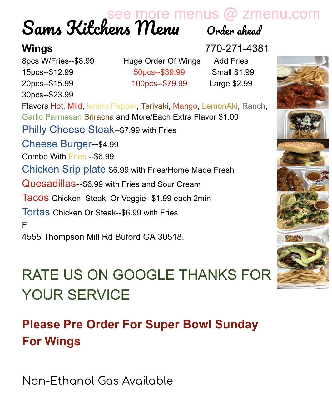 Online Menu Of Sams Kitchen Restaurant Buford Georgia 30518 Zmenu