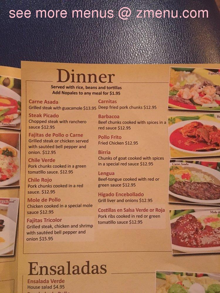 Online Menu Of El Comal Restaurant Restaurant Lake Elsinore