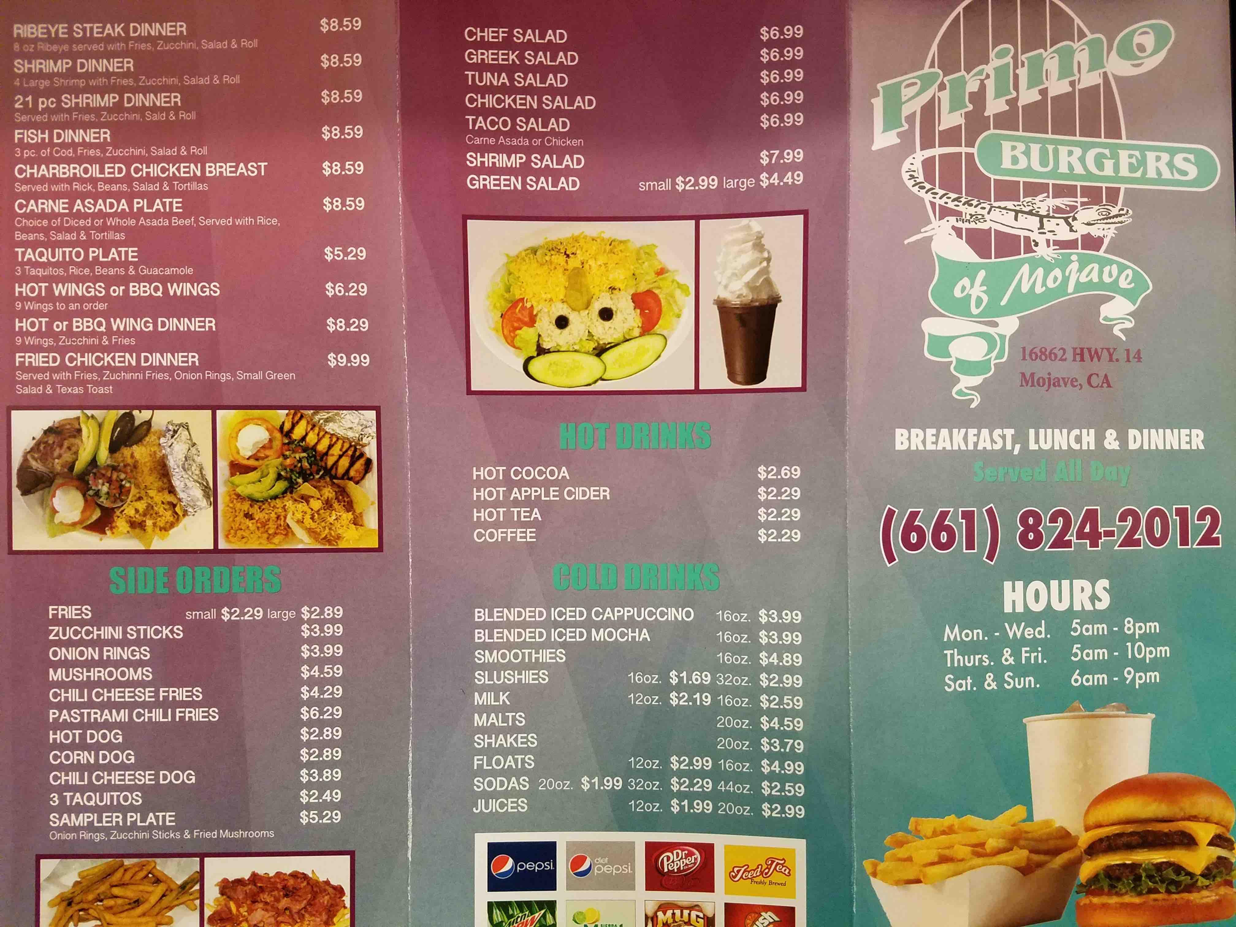 Online Menu Of Primo Burgers Restaurant Mojave California 93501