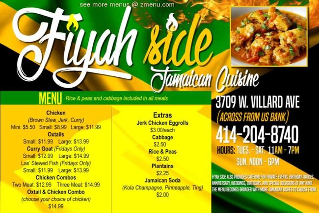 online menu of fiyahside jamaican cuisine restaurant