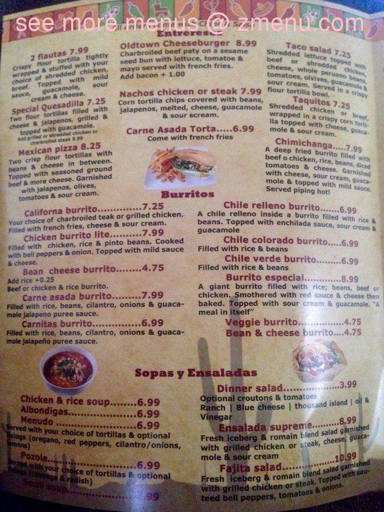 Old Town Mexican Cafe Orcutt Menu