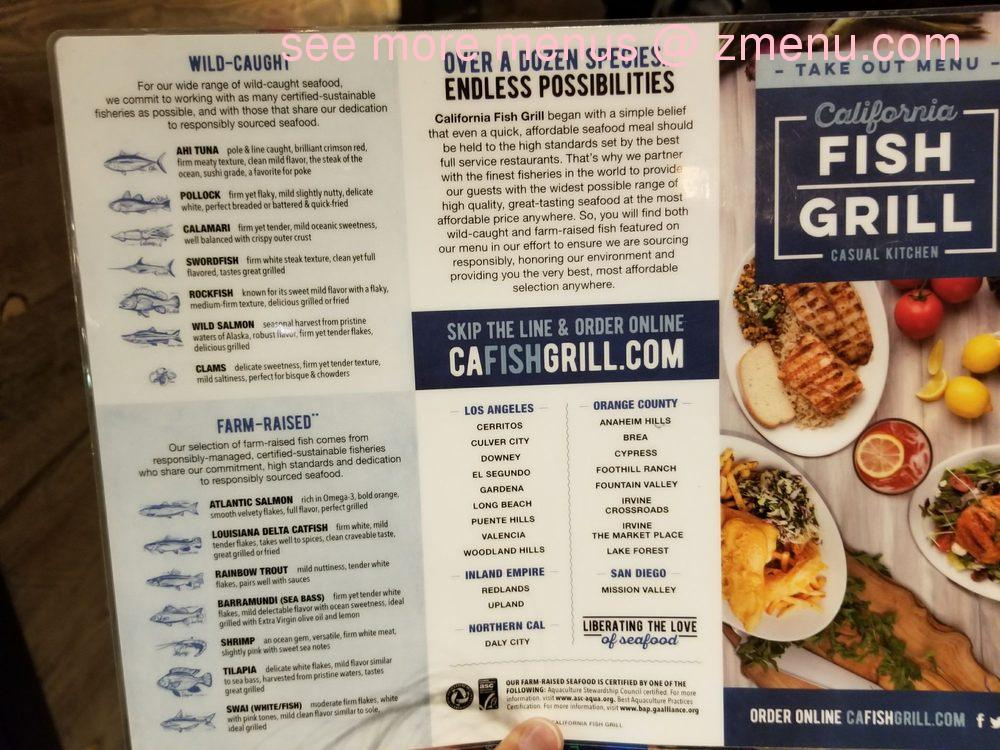 Online menu of california fish grill restaurant daly city for City fish menu