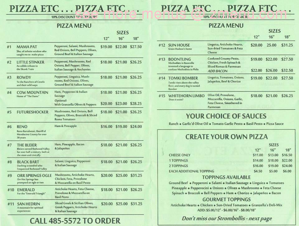 Note ...  sc 1 st  Zmenu & Online Menu of Pizza Etc Restaurant Redwood Valley California ...