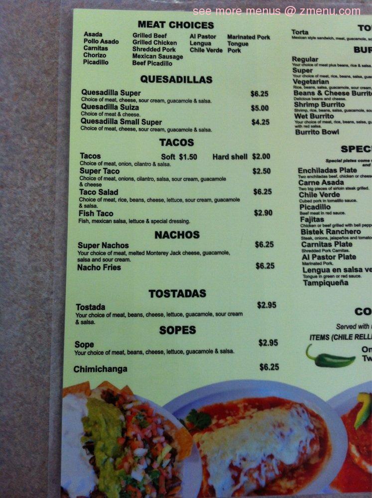 El Mezcal Mexican Restaurant Menu