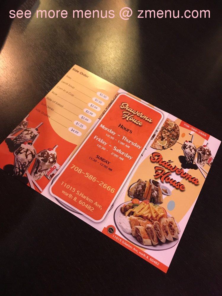 Online Menu of Shawarma House Restaurant, Worth, Illinois