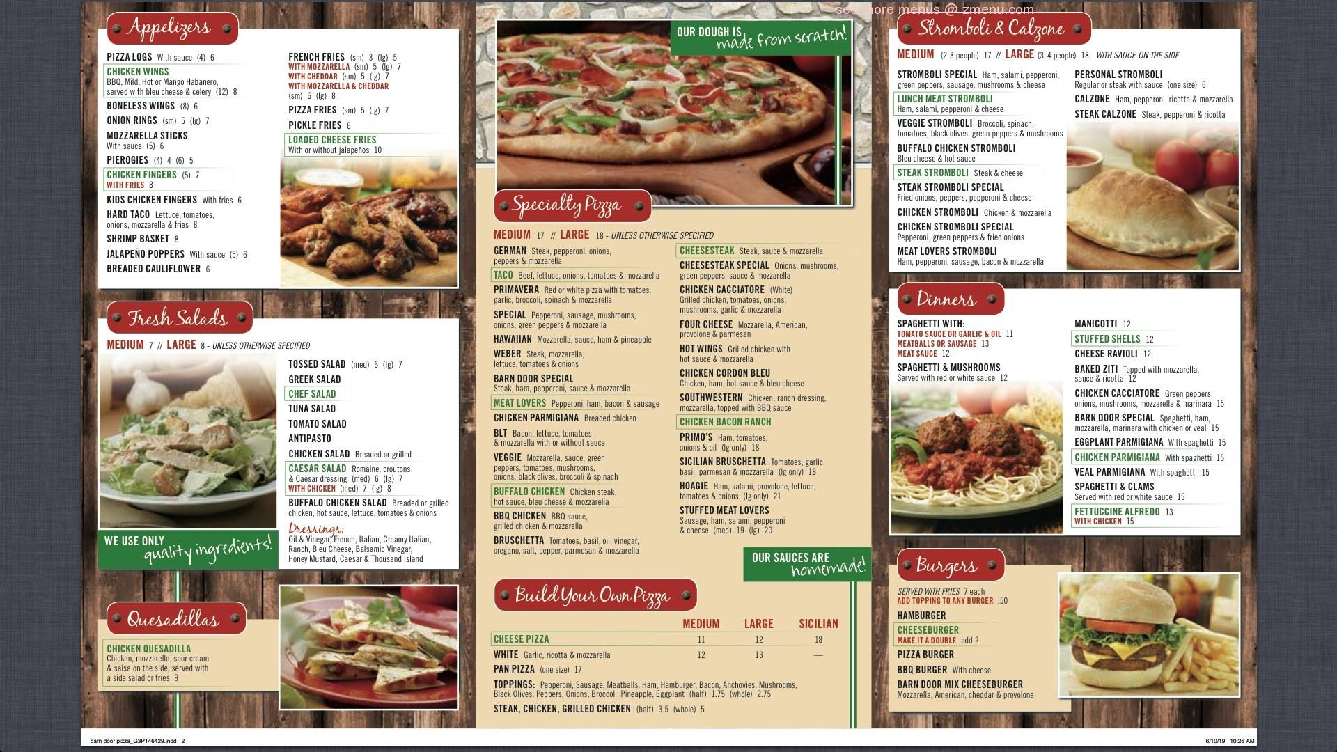 Online Menu of Barn Door Restaurant Restaurant, Lehighton ...