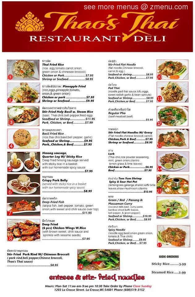 Online Menu Of Thaos Thai Restaurant And Deli Restaurant La