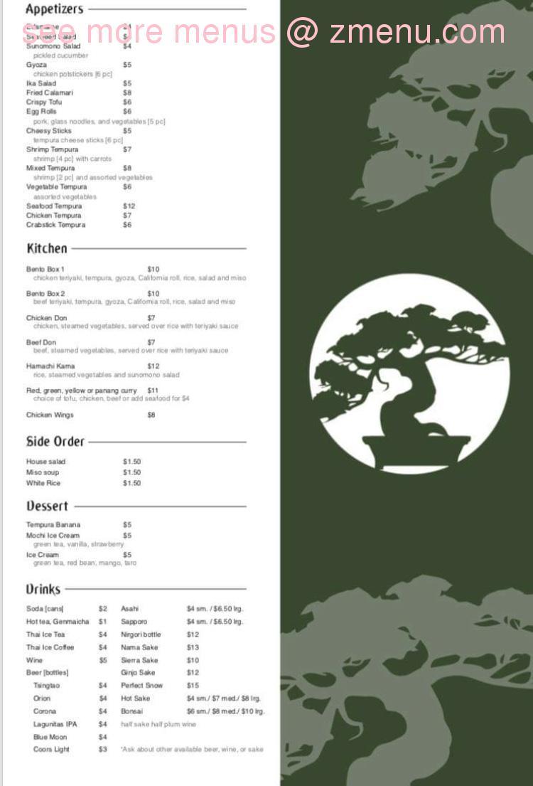 Online Menu Of Bonsai Sushi Fusion Restaurant Redding California 96002 Zmenu