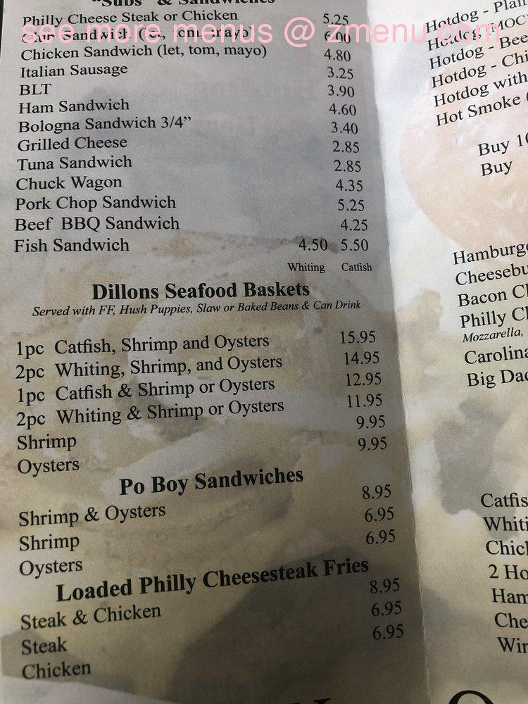 Dillons Restaurant Menu With Prices