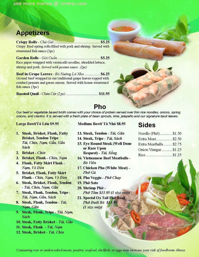 Online Menu Of Pho Basil Restaurant Frederick Maryland 21701 Zmenu