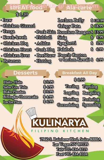 Online Menu Of Kulinarya Express Filipino Kitchen Restaurant Las
