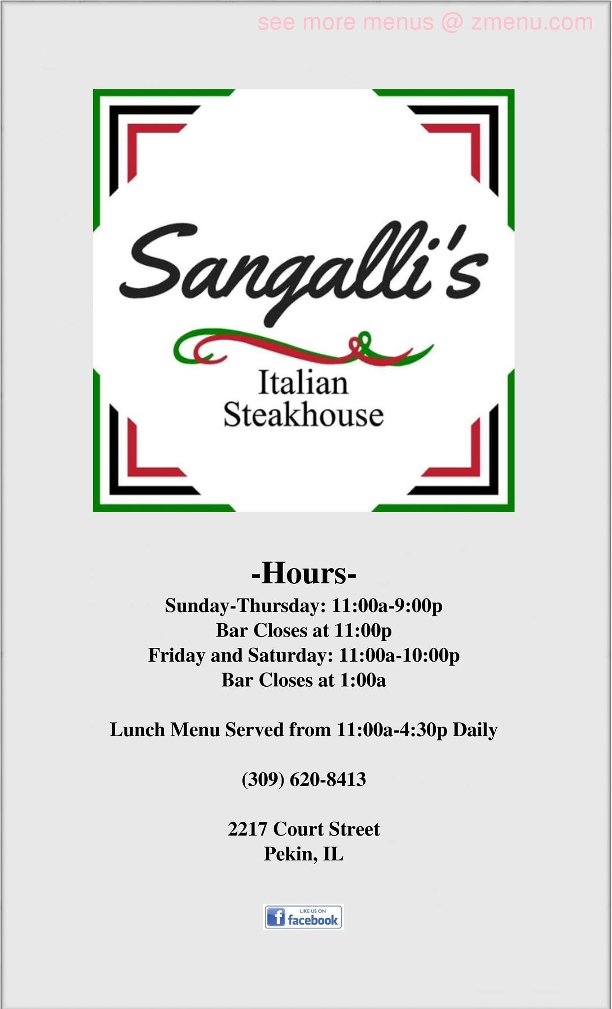 online menu of sangallis italian steak house restaurant pekin illinois 61554 zmenu online menu of sangallis italian steak