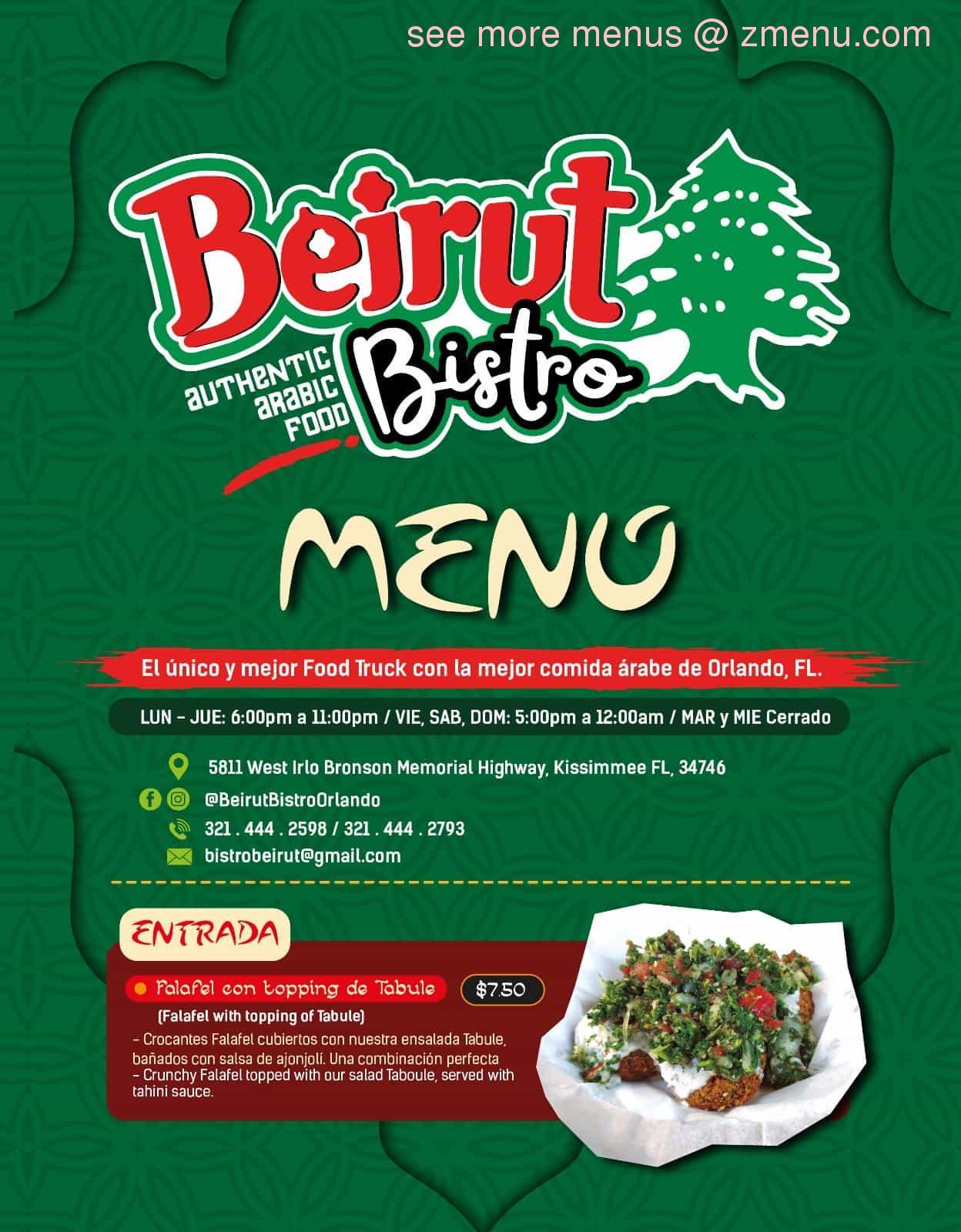 Online Menu of Beirut Bistro Orlando Restaurant, Orlando