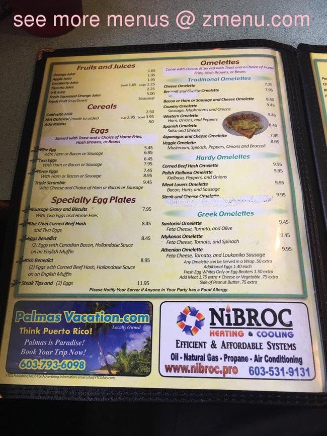 Online Menu Of Steve 39 S Diner Restaurant Exeter New Hampshire 03833 Zmenu
