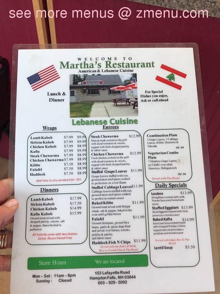 Online Menu Of Marthas Restaurant Restaurant Hampton Falls New