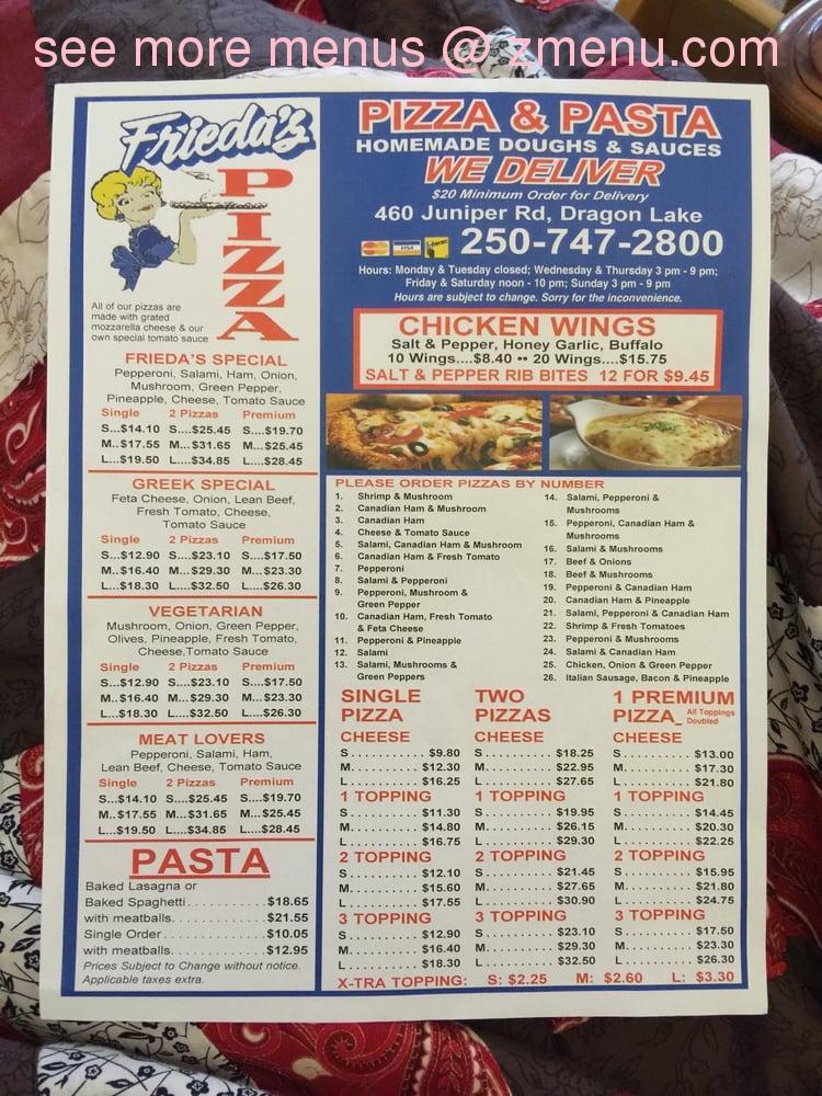 Online Menu Of Friedas Pizza No 2 Restaurant Quesnel British Columbia V2j 4c6 Zmenu