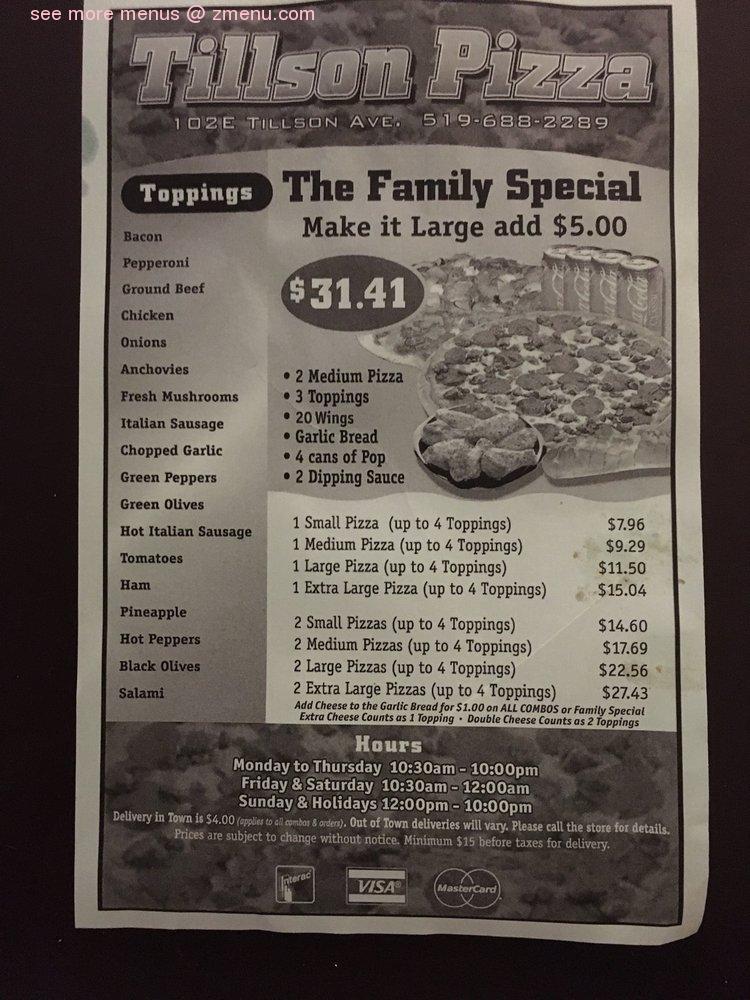 Online Menu Of Tillson Pizza Restaurant Tillsonburg Ontario N4g 3a1 Zmenu
