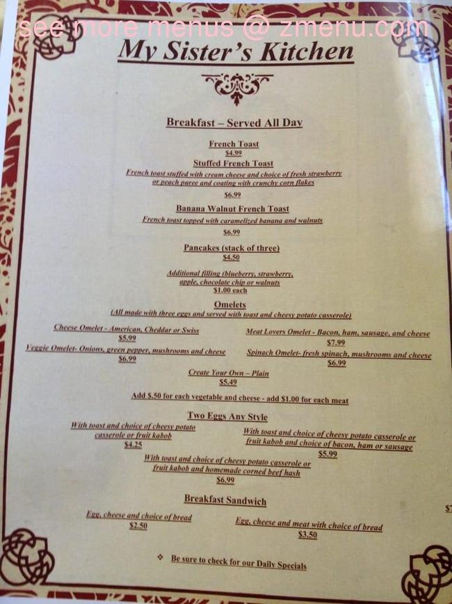 Online Menu Of My Sisters Kitchen Restaurant Milford New