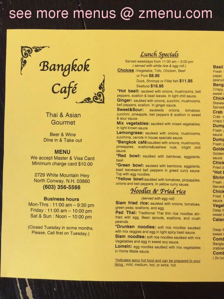 Online Menu Of Bangkok Cafe Restaurant North Conway New