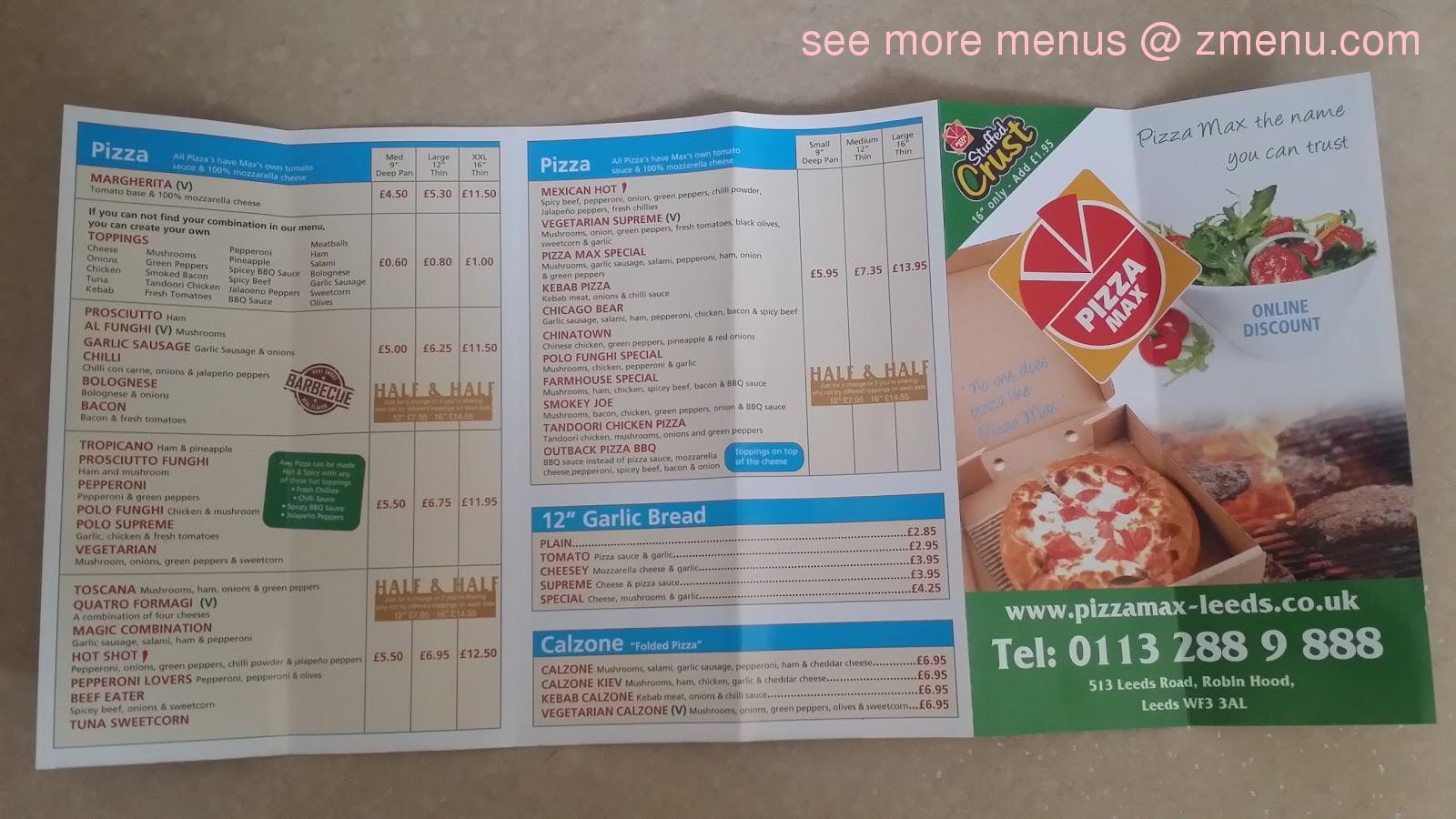 Menu At Pizza Max Pizzeria Leeds 513 Leeds Road Robin Hood