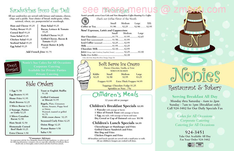 Online Menu Of Nonies Restaurant Bakery Restaurant