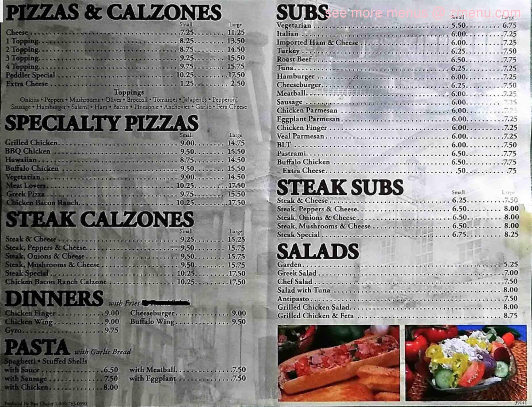 Online Menu Of Pizza Peddler Restaurant Peterborough New