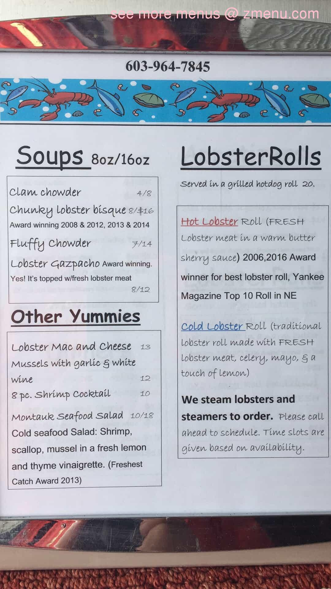 Online Menu Of Rye Harbor Lobster Pound Restaurant Rye New Hampshire 03870 Zmenu