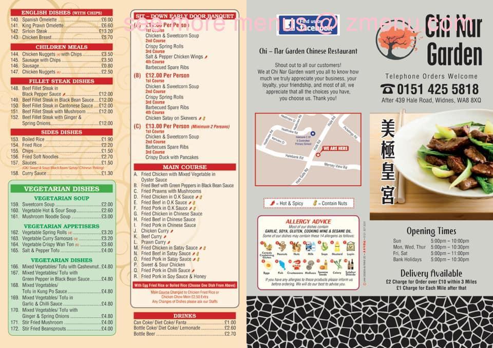 Online Menu Of Chi Nar Garden Chinese Restaurant Restaurant Widnes United Kingdom Wa8 8xh Zmenu