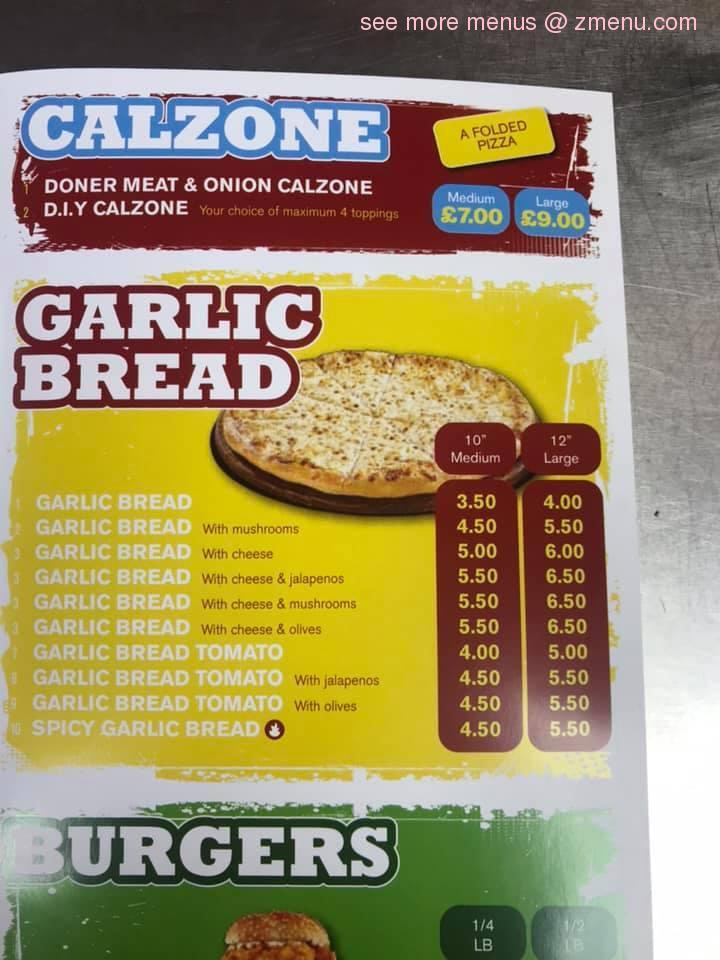 Menu At Lara Bella Pizzeria Brough