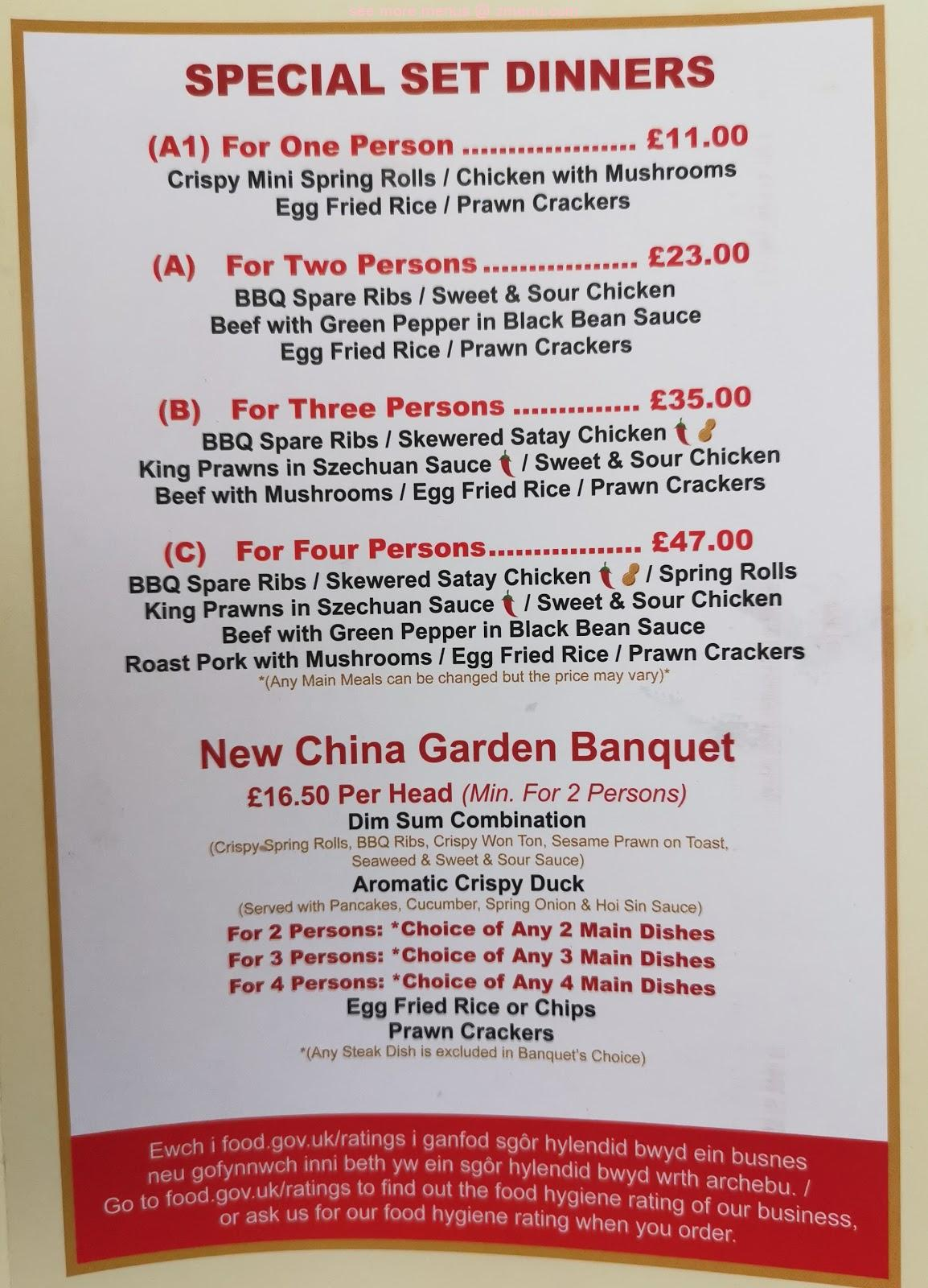 Online Menu Of New China Garden Chinese Restaurant Restaurant Colwyn Bay United Kingdom Ll29 8lg Zmenu