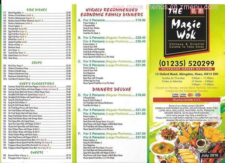 Online Menu Of Magic Wok Restaurant Abingdon United