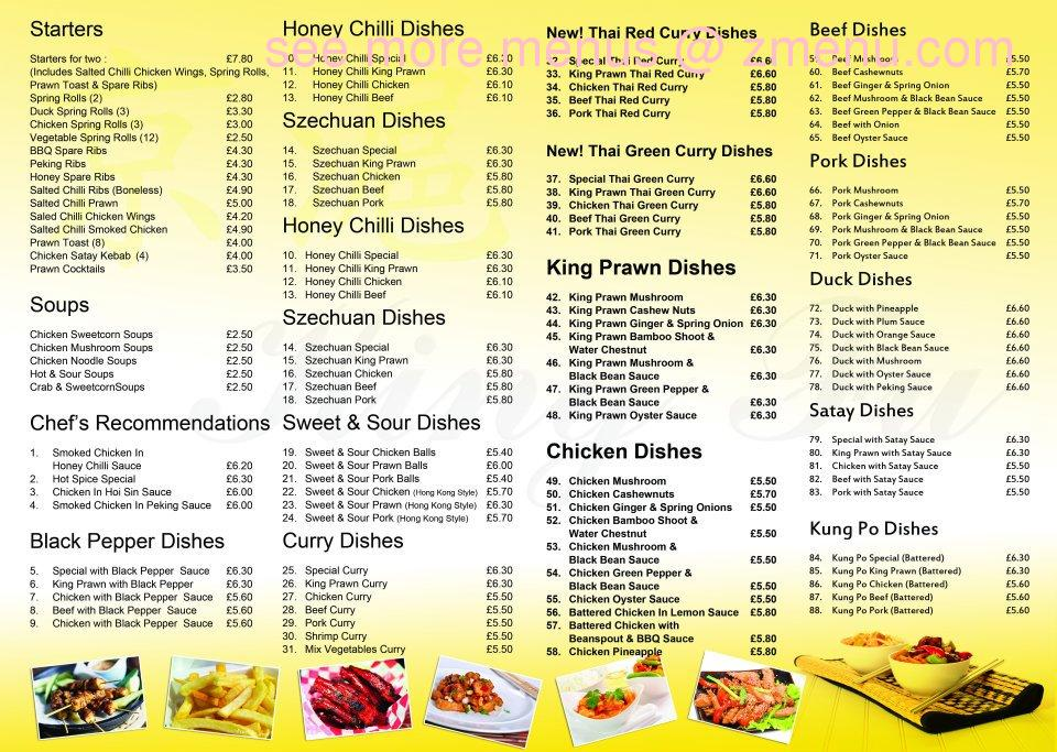 Online Menu Of King Fu Restaurant Bangor United Kingdom