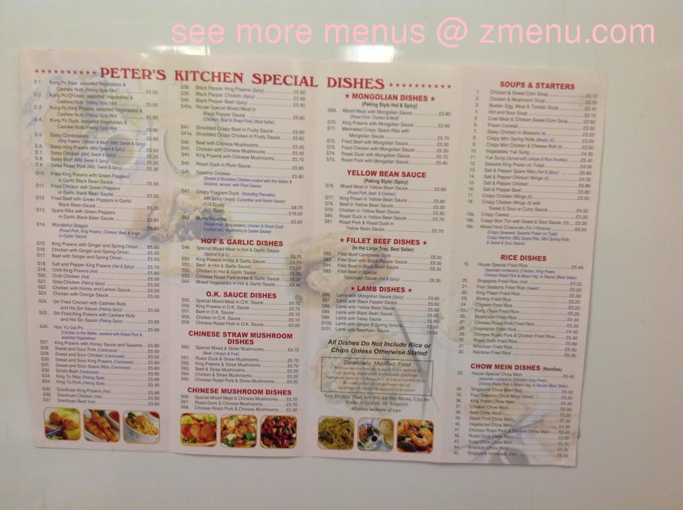 Online Menu Of Peters Kitchen Restaurant Rugeley United