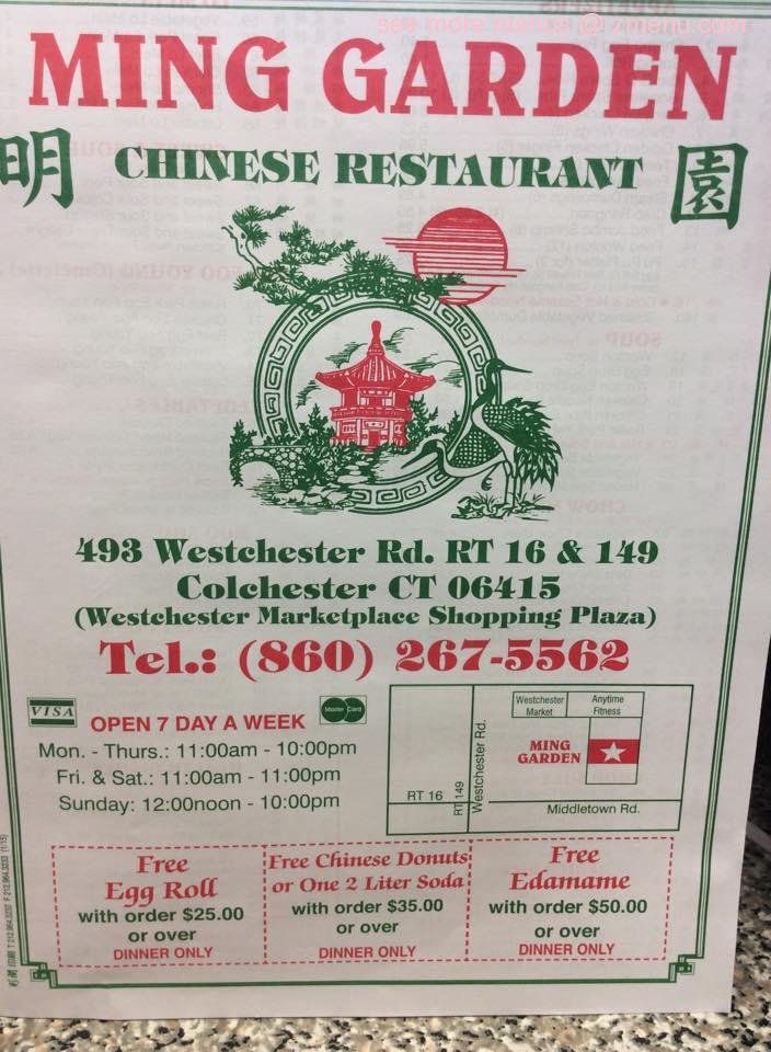 Online Menu Of Ming Garden Chinese Restaurant Restaurant Colchester Connecticut 06415 Zmenu
