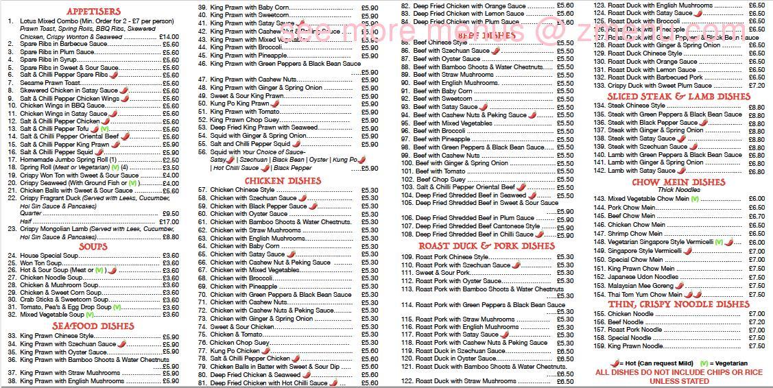 Online Menu Of Lotus Chinese Take Away Restaurant Wareham United Kingdom Bh20 4nn Zmenu