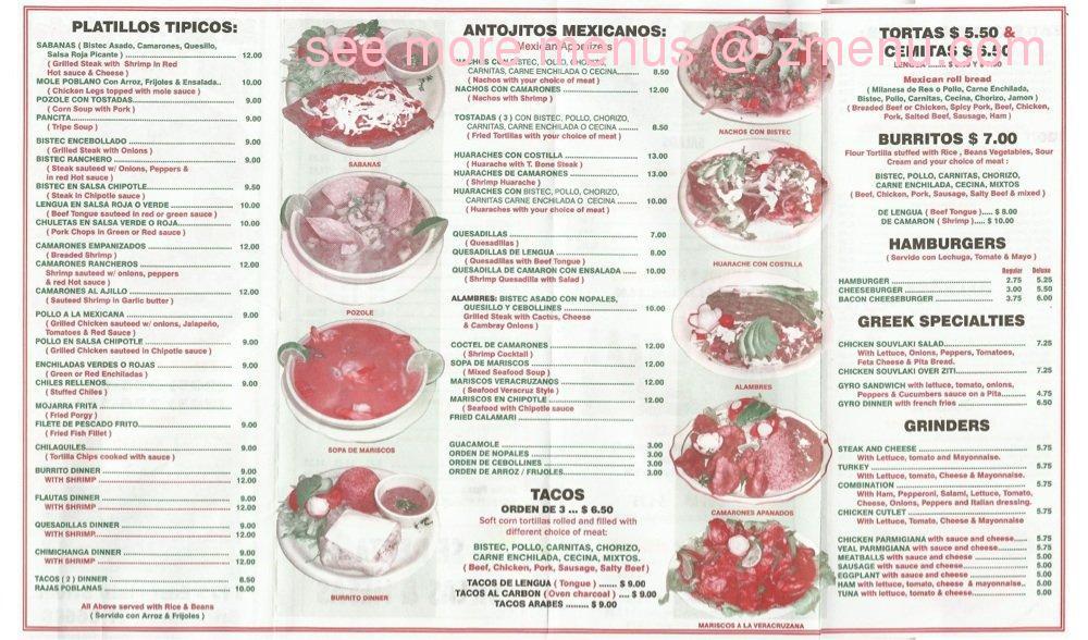 Sisters Restaurant Menu