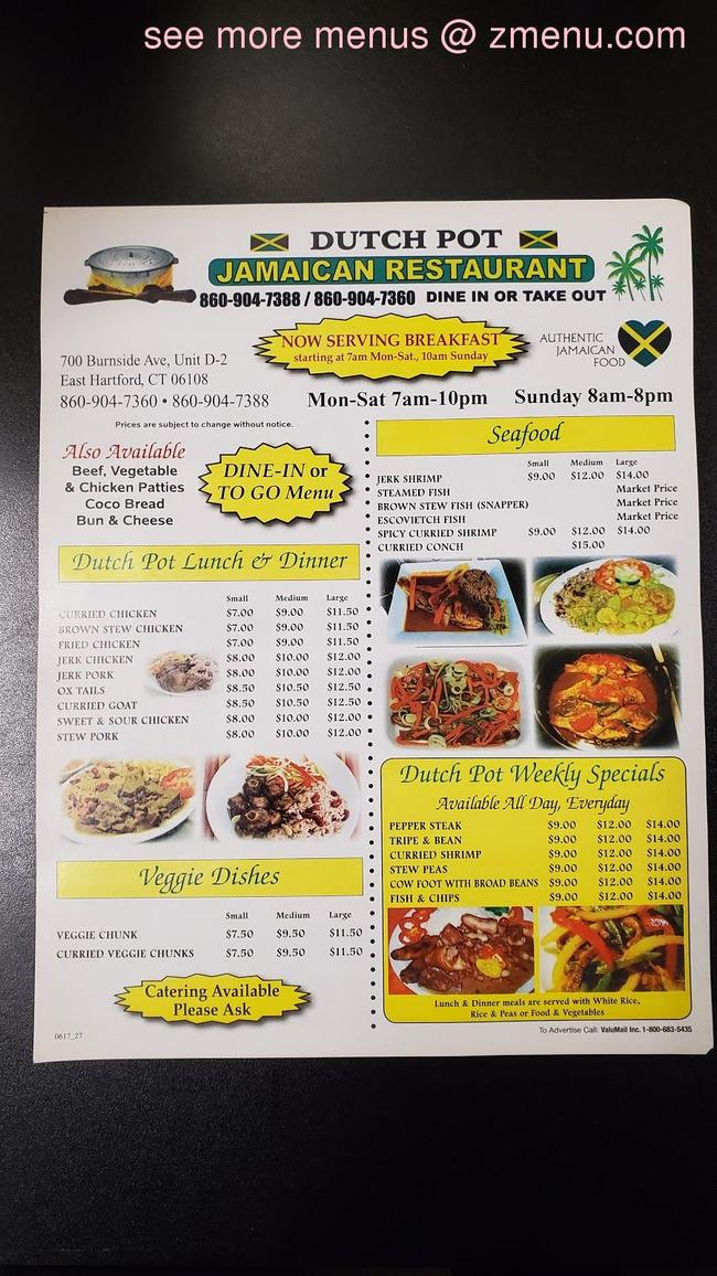 online menu of dutch pot jamaican restaurant restaurant