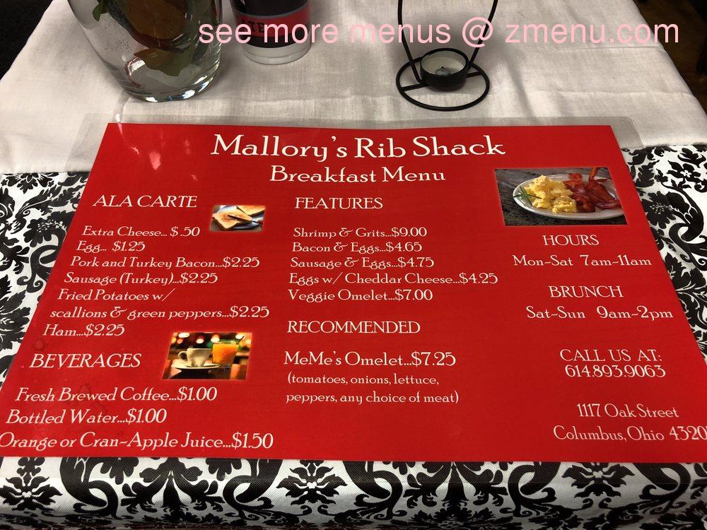 Online Menu Of Mallorys Rib Shack Restaurant Columbus Ohio 43205