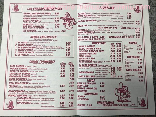 Online Menu Of Los Charros Restaurant Oakley California