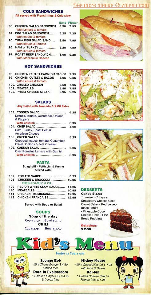 Sunrise Chinese Restaurant Menu