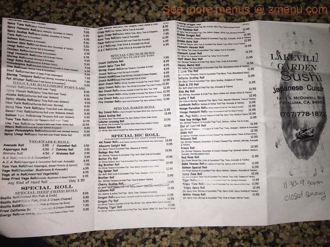 Online Menu Of Lakeville Garden Sushi Restaurant Petaluma