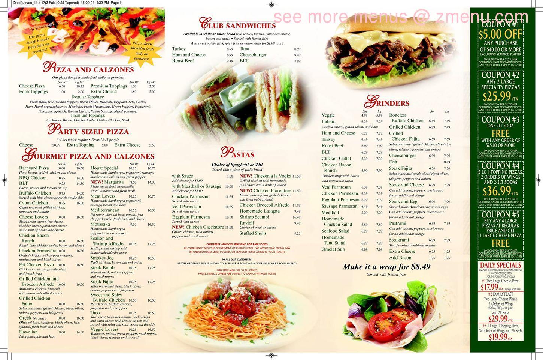 Online Menu of Zoe\'s Pizza & seafood Restaurant, Putnam, Connecticut ...