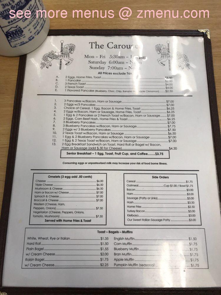 Online Menu Of The Carousel Coffee Shop Llc Restaurant Southington Connecticut 06489 Zmenu
