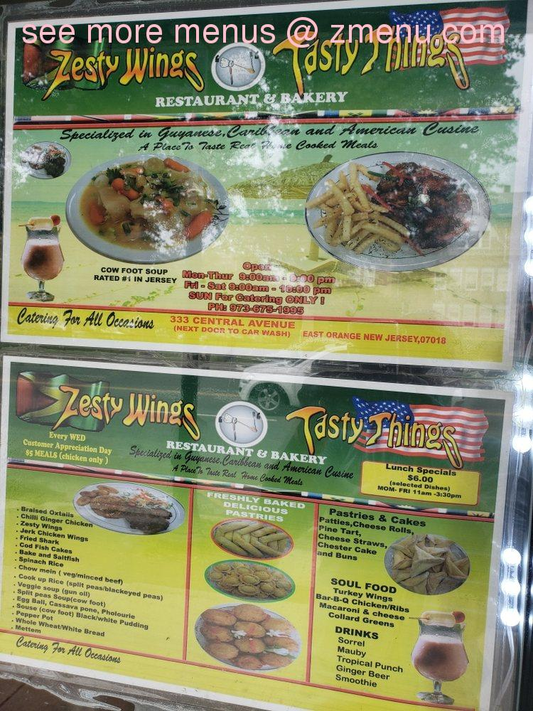 Online Menu Of Zesty Wings Tasty Things Restaurant East Orange New Jersey 07018 Zmenu